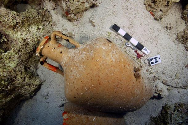 An earthenware vessel found at one of the shipwreck sites.
