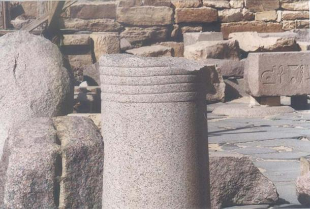 Abusir, Egypt. Remnant of granite pillar with lines etched on it.