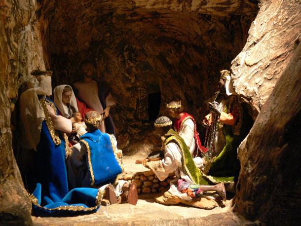 Millennia after this prehistoric Egyptian nativity scene was painted, Christians celebrate the Christ's birth with scenes and tableaus of Mary and Joseph, the newborn, shepherds, the three wise men and farm animals.