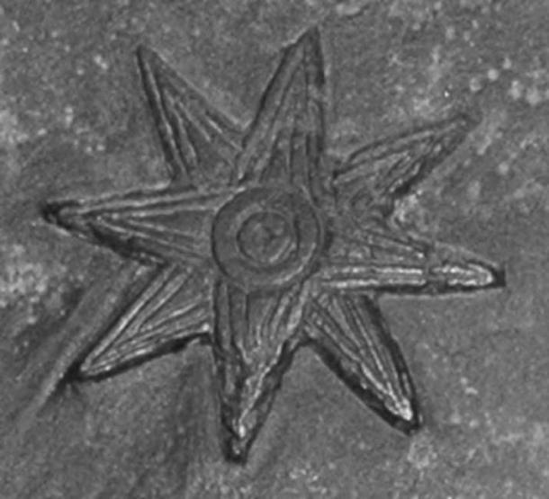 The ancient Mesopotamian eight-pointed star symbol of the goddess Ishtar.