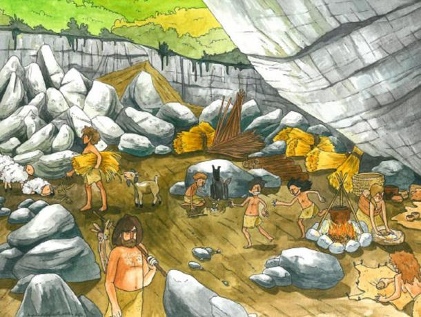 Illustration of life at El Portalon Cave during the Neolithic and Copper Age