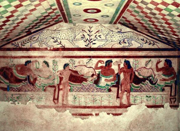 An example of an elaborate Etruscan tomb: Wall painting in a burial chamber called Tomb of the Leopards at the Etruscan necropolis of Tarquinia in Lazio, Italy.