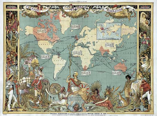 An elaborate map of the British Empire in 1886, marked in the traditional color for imperial British dominions on maps.