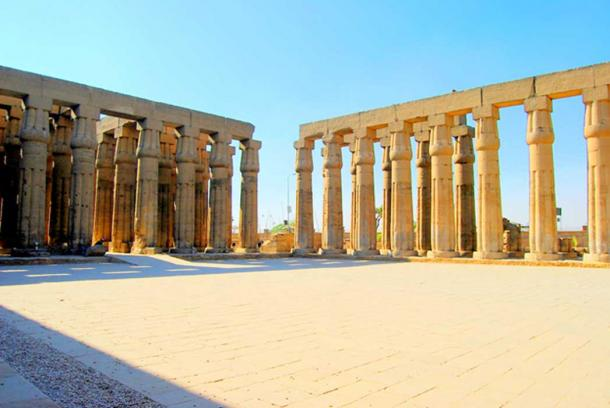 The elegant columns of the 'Great Sun Court' at Luxor Temple.