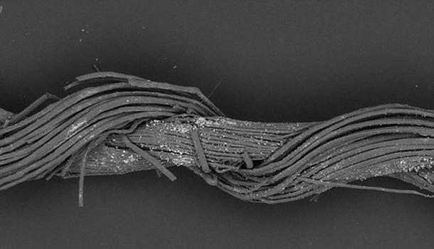 A splice in one of the single thread elements of fabric found in the cave of a warrior, Israel Credit: M. Gleba, S. Harris, with permission of Israel Antiquities Authority