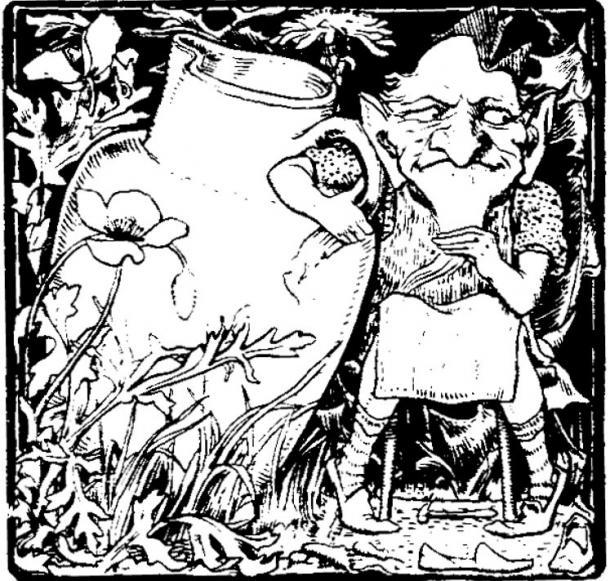 An illustration of a clurichaun, cousin of the leprechauns.