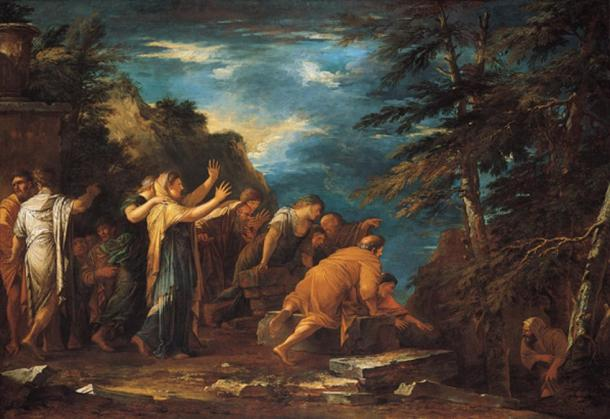 Pythagoras emerging from the underworld. (1662) By Salvator Rosa.