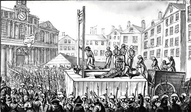 Nine emigres being executed by guillotine in 1793 during the Reign of Terror. (Public domain)