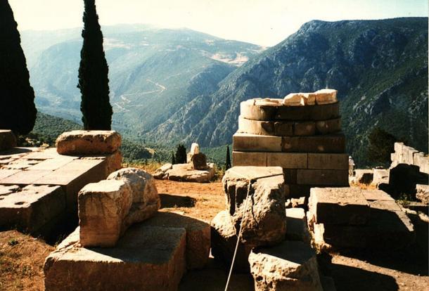 The empty base of a serpent column at Delphi.
