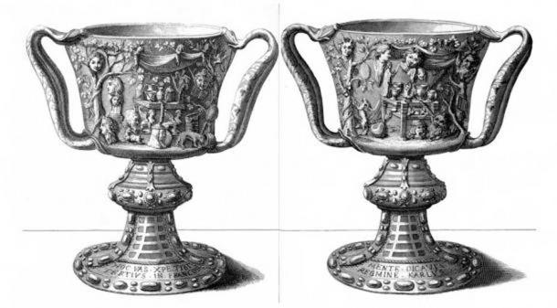 An engraving by Michel Félibien that was made in 1706, depicting the front and the back of the Cup of the Ptolemies, when it was already used as a Christian chalice.