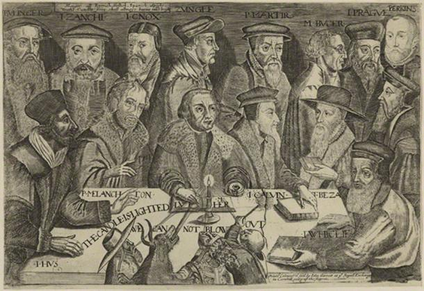 17th century engraving of Calvinist theologians (public domain)