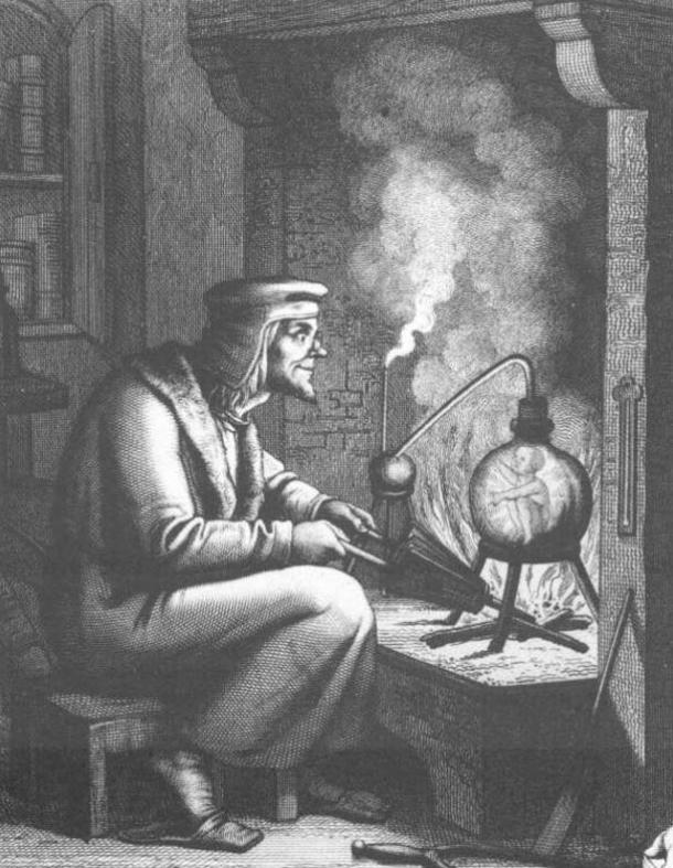 A 19th century engraving of Goethe's Faust and a homunculus