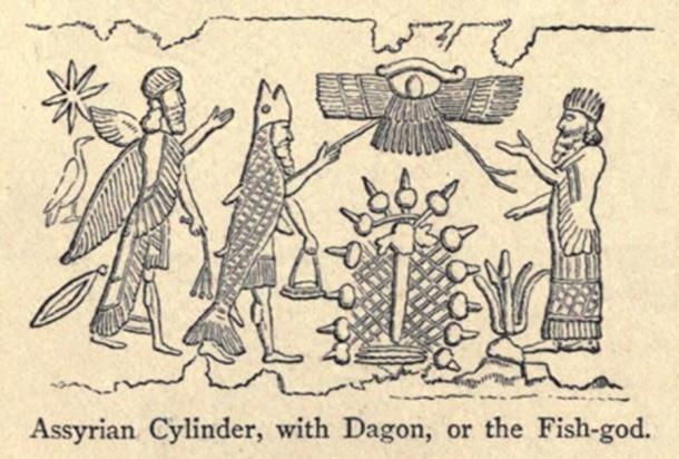Engraving of an Assyrian Cylinder, with Dagon, or the Fish-god (Public Domain)