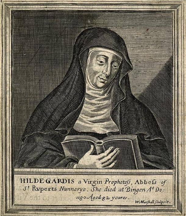 Line engraving of Saint Hildegard of Bingen. (Fæ / CC BY-SA 4.0)