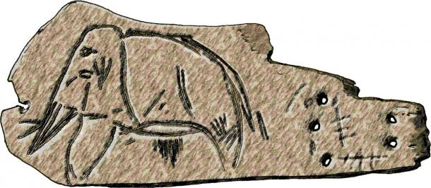 Engraving of a mammoth on a slab of mammoth ivory, from the Upper Paleolithic Mal'ta deposits at Lake Baikal, Siberia (José-Manuel Benito / Public domain)