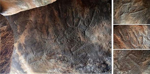 The engravings that were exposed on the inside of the built chamber.