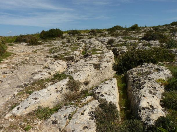 "The enigmatic cart ruts of Malta, at Misrah Ghar il-Kbir or ""Clapham Junction""."