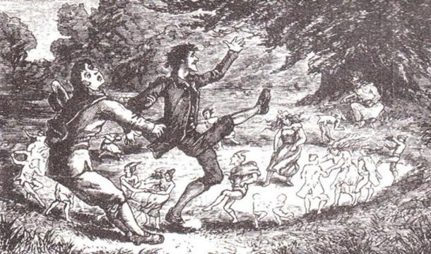 19th-century woodcut demonstrating the dangers of entering the faerie ring.