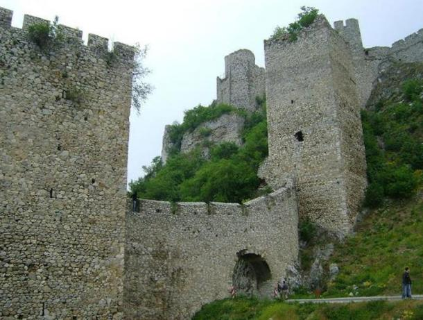 Main entrance and forward compound of Golubac Fortress.