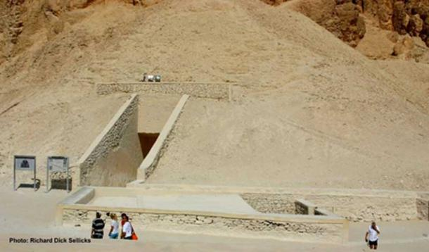The entrance to KV62, the tomb of Tutankhamun (Bottom right) in the Valley of the Kings – that lay undisturbed for millennia beneath debris from the tomb of Ramesses VI (Nineteenth Dynasty) over which ancient workmen's huts were built.