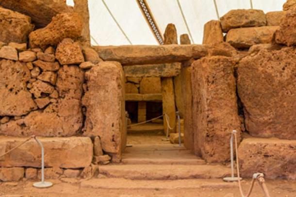 The entrance to Mnajdra temple in Malta.