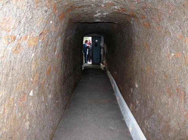 The entrance to the Pyramid of Caius Cestius in Rome, Italy, as seen from inside