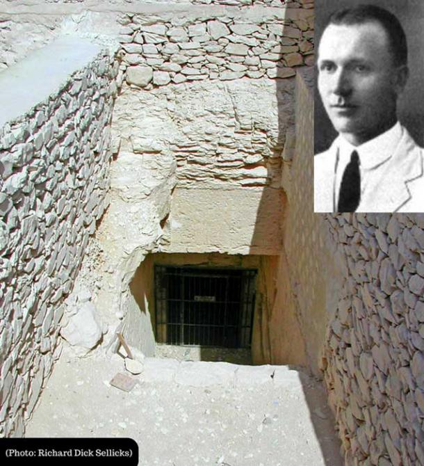 This composite image shows the entrance to the enigmatic Tomb 55 and (Inset) Edward Ayrton its discoverer