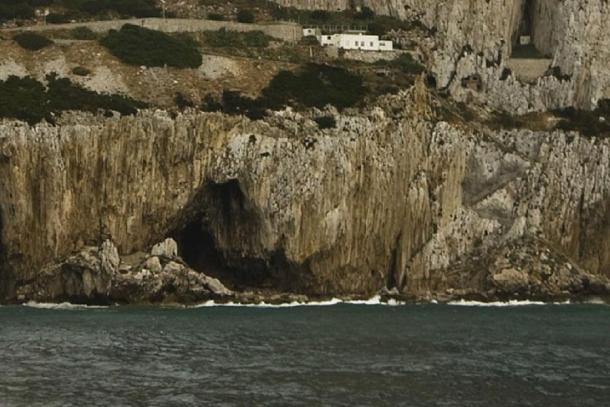 The entrance to Gorham's Cave on the south-eastern flank of the Rock of Gibraltar is one of the last known habitations of the Neanderthals in Europe. (Gibmetal77 / CC BY-SA 3.0)