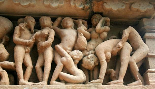 Some of the erotic carvings found on the temple complexes in Khajuraho