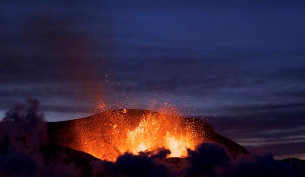 The eruption of Iceland's Fimmvörðuháls in 2010.
