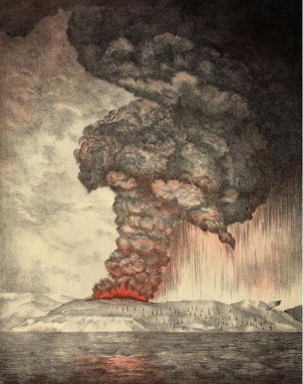 An 1888 lithograph of the 1883 eruption of Krakatoa.