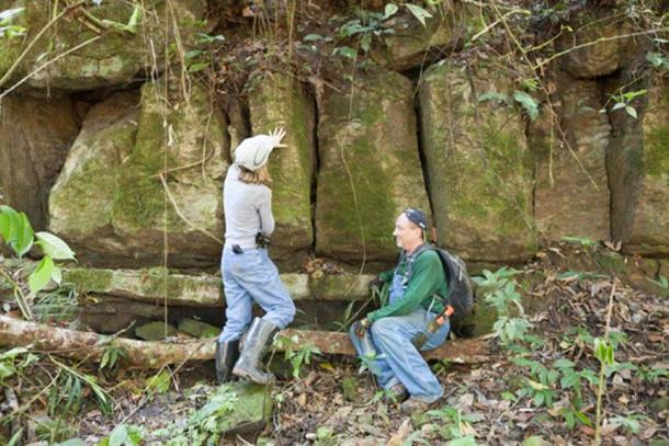 Wendy and Scott examining the rock formation.