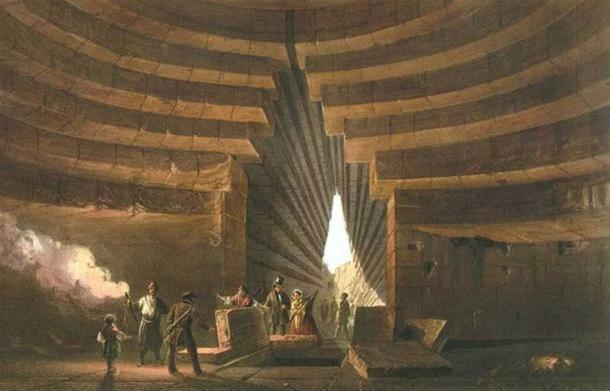 Detail. Painting, 1856, an example of a kurgan, specifically the so-called 'Tomb of Mithridates.'