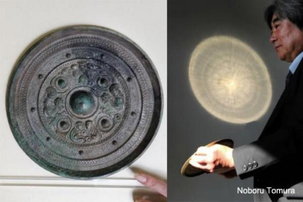 An example of one of the 'miraculous' products of ancient Chinese craftsmanship. The bronze mirror is illuminated from the left. On the wall in front of it, the image that has been imprinted on the back of the mirror, appears. (You Tube)