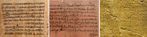 From left to right, examples of Hieratic, Demotic, and Coptic script.