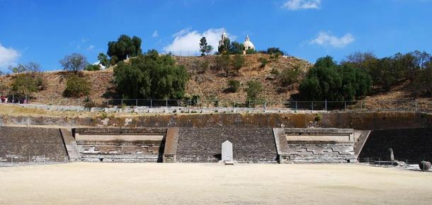 The excavated Patio of the Altars at the Great Pyramid of Cholula, Puebla, Mexico.