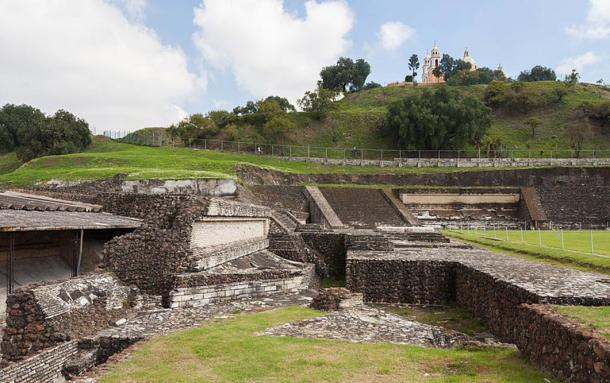 An excavated section of the Great Pyramid of Cholula, Puebla, Mexico.