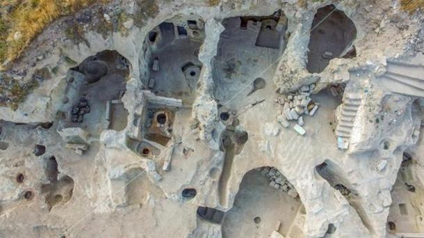 An excavated section of the recently discovered underground city in Turkey, showing evidence of permanent habitation.