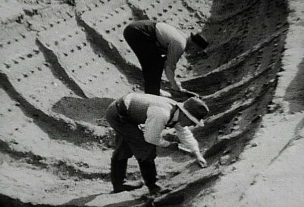 1939 excavation of Sutton Hoo burial ship.
