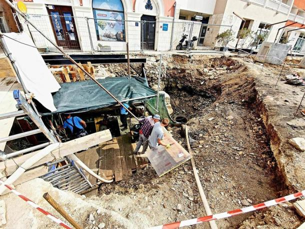 The excavation site where the Roman shipwreck was unearthed. (Grad Poreč)