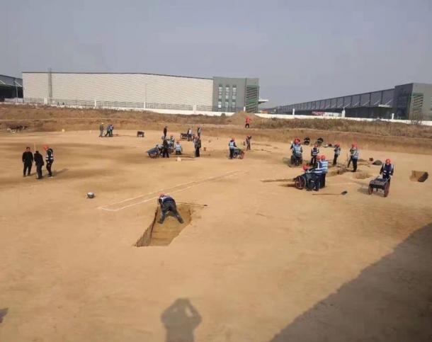 The excavation site at Xianyang International airport. (Cultural Heritage Bureau of Shaanxi)