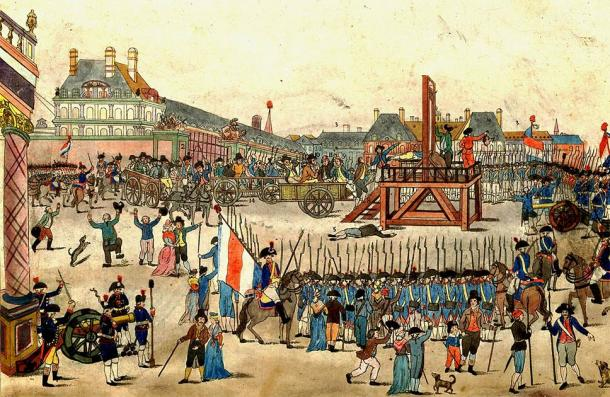 The execution of Robespierre and his supporters (July 1794) who guillotined the most people during the Reign of Terror after the French Revolution. (Public domain)