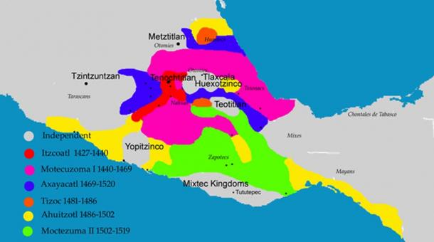 Map showing the expansion of the Aztec empire through conquest.