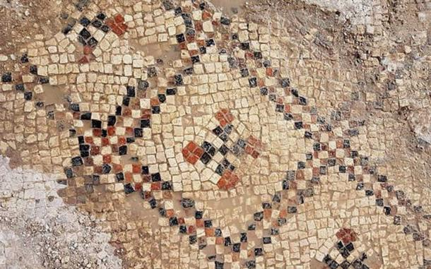 An exposed part of the colorful mosaic.