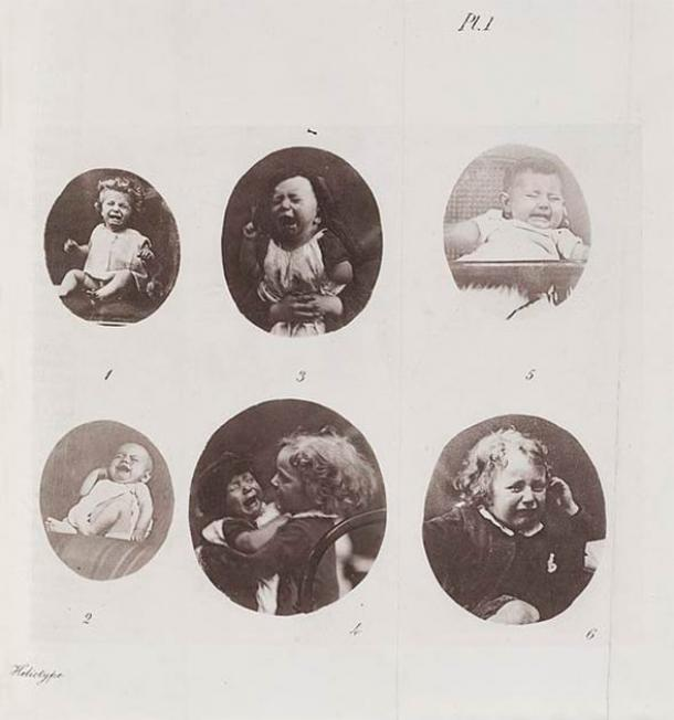 """Expression of Suffering. Fold-out plate of weeping children and babies from Darwin's """"The Expression of the Emotions in Man and Animals"""", his third major work on evolutionary theory. (Wellcome Library / CC BY 4.0)"""