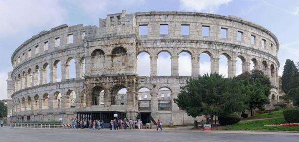 The exterior of the Pula Arena in Croatia.