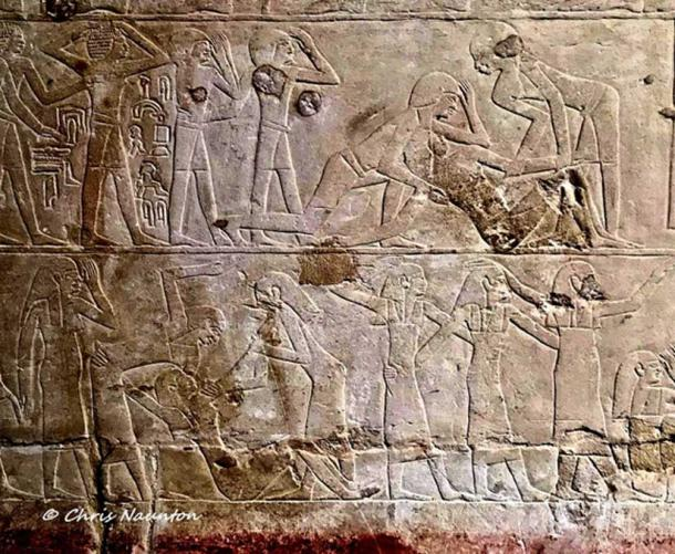 In this rather extraordinary scene of a funeral procession in the 6th Dynasty tomb of Ankhmahor at Saqqara, a mourner is shown on the ground, collapsed in grief. Even though the ancient Egyptians believed that death was not the end, they were human after all, and hence, mourned the departed just as we do today.