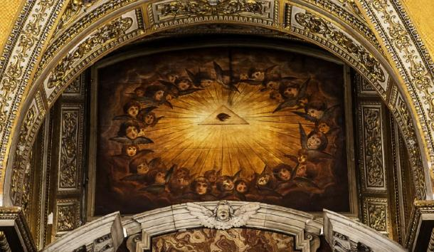 The Eye of Providence shown on the wall of a Church. (suprunvitaly / Adobe stock)