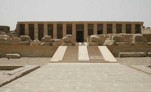 The façade of the temple of Seti I in Abydos, Egypt.