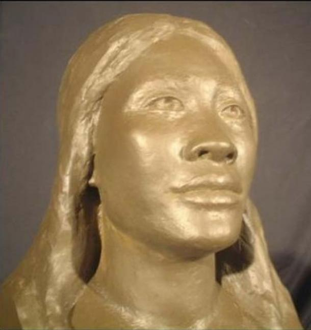 The face of Mana, a Lapita woman whose face was reconstructed using a model of her skull which was excavated from an early human settlement at Naitabale in Fiji.